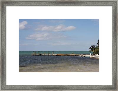 Lonely Pier Framed Print by Bonnes Eyes Fine Art Photography