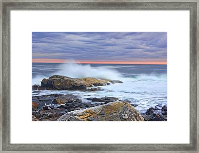 Long Exposure Of Colorful Ocean Waves At Sunset. Framed Print by Keith Webber Jr