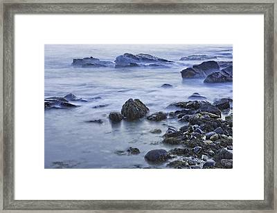 Long Exposure Of Ocean Waves At Sunset. Framed Print by Keith Webber Jr