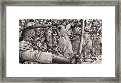 Longbowmen At The Battle Of Falkirk Framed Print by Pat Nicolle