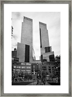 looking along central park south towards columbus circle and the time warner center New York City US Framed Print