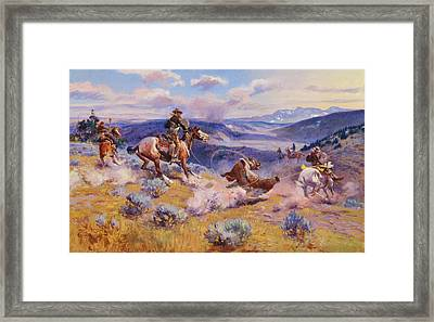 Loops And Swift Horses Are Surer Than Lead Framed Print by Charles Marion Russell