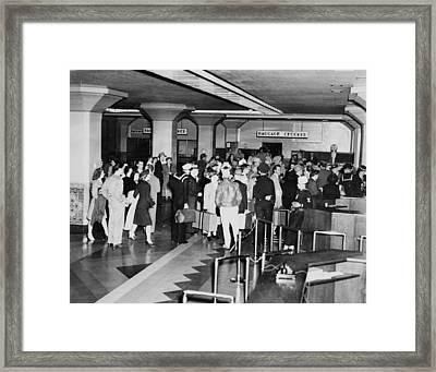 Los Angeles, Union Station Interior Framed Print by Everett