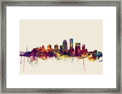 Louisville Kentucky City Skyline Framed Print