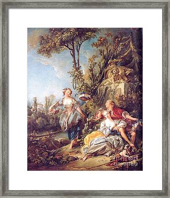 Lovers In A Park Framed Print by Pg Reproductions