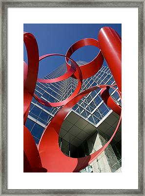 Low Angle View Of A Sculpture In Front Framed Print