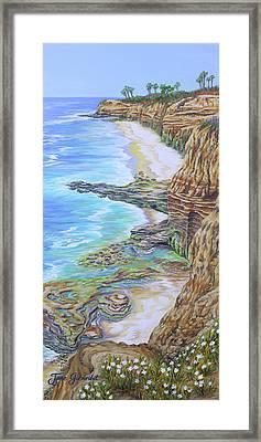 Low Tide Sunset Cliffs Framed Print by Jane Girardot