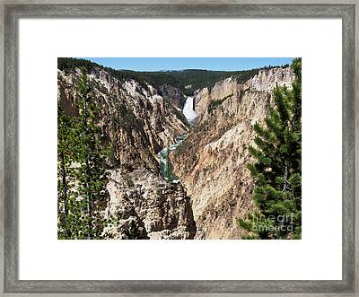 Lower Falls From Artist Point In Yellowstone National Park Framed Print by Louise Heusinkveld