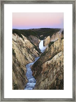 Lower Falls On The Yellowstone River Framed Print