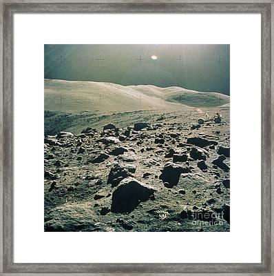 Lunar Rover At Rim Of Camelot Crater Framed Print by NASA / Science Source