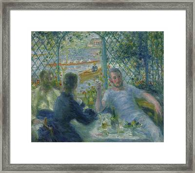 Lunch At The Restaurant Fournaise  The Rowers Lunch Framed Print by Pierre Auguste Renoir