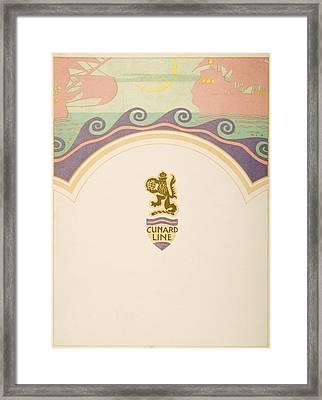 Luncheon Menu. Cunard Line. R.m.s Framed Print by Vintage Design Pics