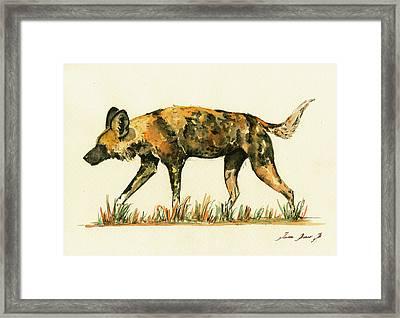 Lycaon Wild Dog Framed Print by Juan  Bosco