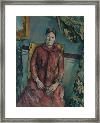 Madame Cezanne In A Red Dress Framed Print