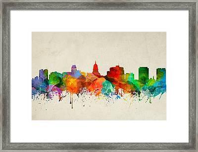 Madison Wisconsin Skyline 21 Framed Print by Aged Pixel