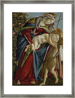 Madonna And Child And The Young St John The Baptist Framed Print by Sandro Botticelli