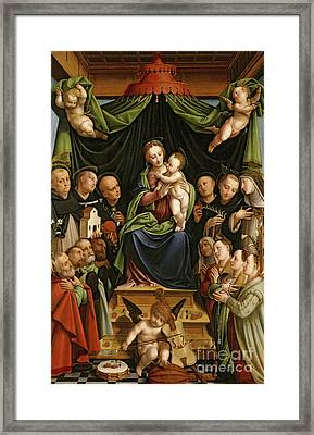Madonna And Child Enthroned With Saints And Donors Framed Print