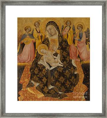 Madonna And Child With Angels Framed Print