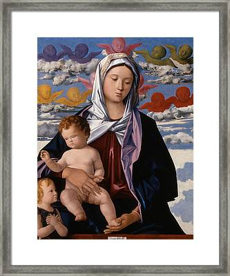 Madonna And Child With St. John The Baptist Framed Print by Giovanni Bellini