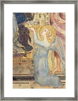 Maesta  Angel Offering Flowers To The Virgin Framed Print by Simone Martini