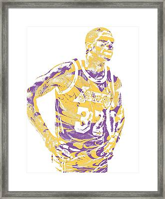 Magic Johnson Los Angeles Lakers Pixel Art 6 Framed Print