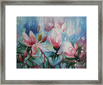 Framed Print featuring the painting Magnolia by Elena Oleniuc