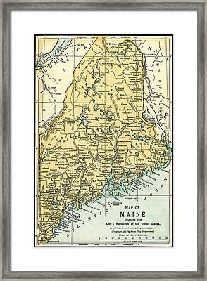 Maine Antique Map 1891 Framed Print