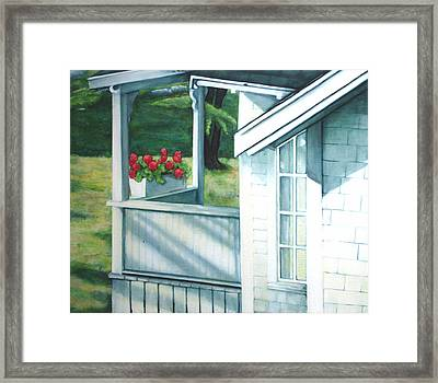 Maine Porches Number One Framed Print by Leo Malboeuf