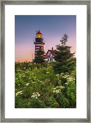 Maine West Quoddy Head Light At Sunset Framed Print