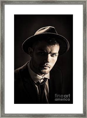 Man Wearing Trilby Framed Print by Amanda Elwell
