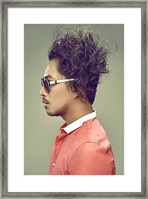 Man With Messy Hairstyle In Pink Shirt Framed Print