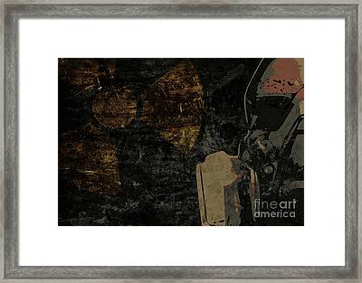 Man With Protective Mask On Dark Metal Plate Background With Rad Framed Print