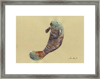 Manatee Framed Print by Juan  Bosco