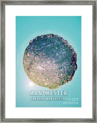 Manchester 3d Little Planet 360-degree Sphere Panorama Framed Print by Frank Ramspott
