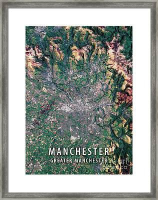 Manchester 3d Render Satellite View Topographic Map Framed Print by Frank Ramspott
