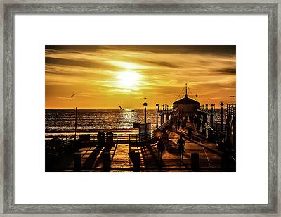 Pier Of Gold Framed Print by April Reppucci