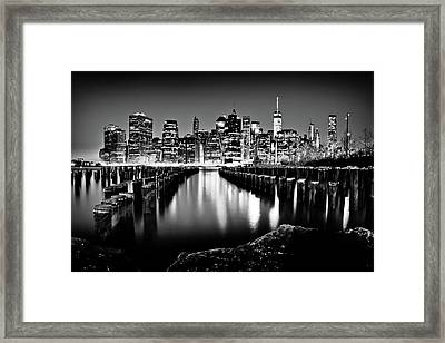 Framed Print featuring the photograph Manhattan Skyline At Night by Az Jackson