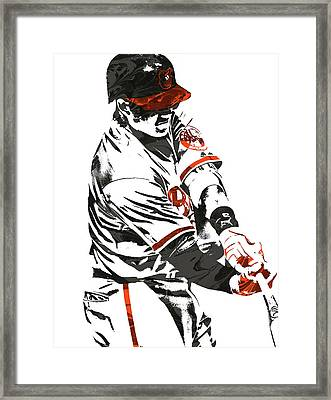 Manny Machado Baltimore Orioles Pixel Art Framed Print by Joe Hamilton