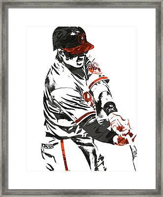 Framed Print featuring the mixed media Manny Machado Baltimore Orioles Pixel Art by Joe Hamilton