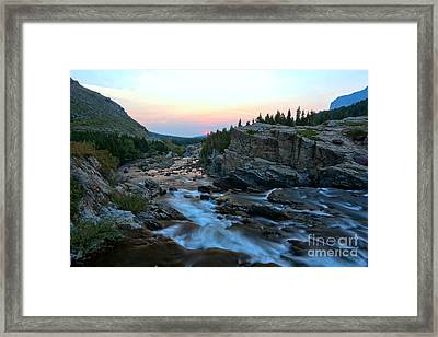 Many Glacier Swiftcurrent Sunrise Framed Print by Adam Jewell