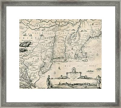 Map Of New Netherland, 1650s Framed Print by Photo Researchers
