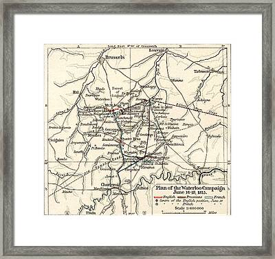 Map Of The Battle Of Waterloo Framed Print by English School