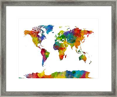 Map Of The World Map Watercolor Framed Print by Michael Tompsett