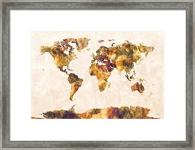 Map Of The World Map Watercolor Painting Framed Print by Michael Tompsett