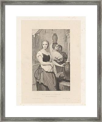 Marguerite At The Fountain Framed Print