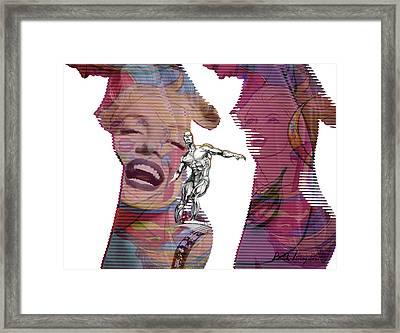 Marilyn Superwoman Silver Surfer Desaturated Framed Print