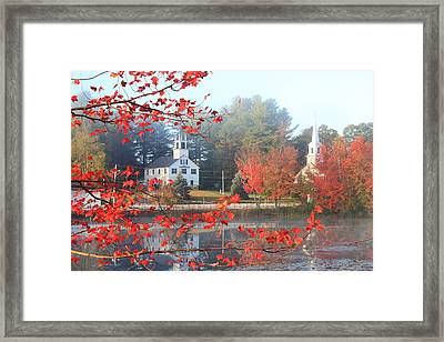 Marlow New Hampshire Early Autumn Fog Framed Print by John Burk
