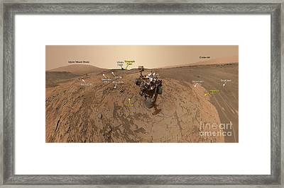 Mars Curiosity Rover At Mount Sharp Framed Print by Science Source