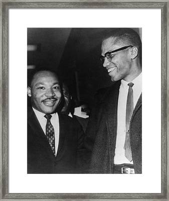Martin Luther King Jr., And Malcolm X Framed Print by Everett