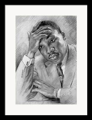 Martin Luther King Drawings Framed Prints